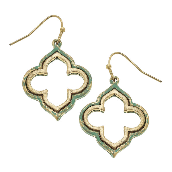 Patina Quatrefoil Drop Earring in Worn Gold by Crave