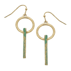Patina Ring Bar Drop Earring in Worn Gold by Crave