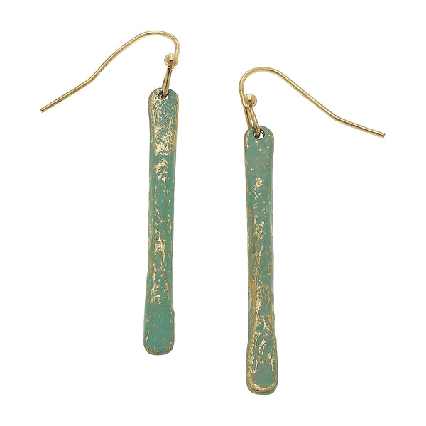 Patina Bar Drop Earring in Worn Gold by Crave
