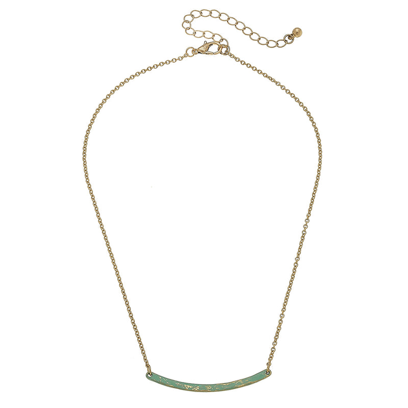 Patina Curved Bar Necklace in Worn Gold by Crave