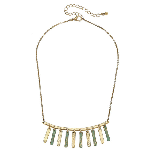 Patina Curved Bar Fringe Necklace in Worn Gold by Crave