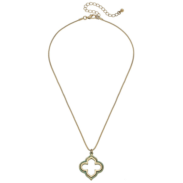 Patina Quatrefoil Necklace in Worn Gold by Crave