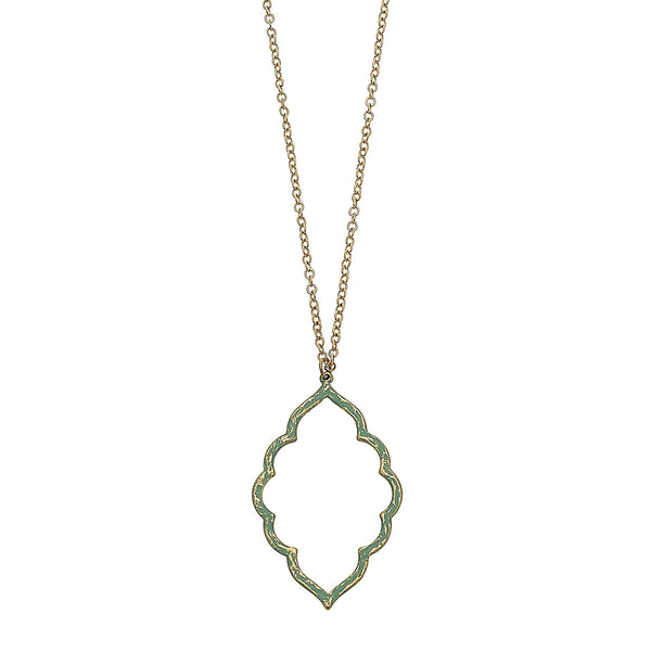 Patina Moroccan Pendant Necklace in Worn Gold by Crave