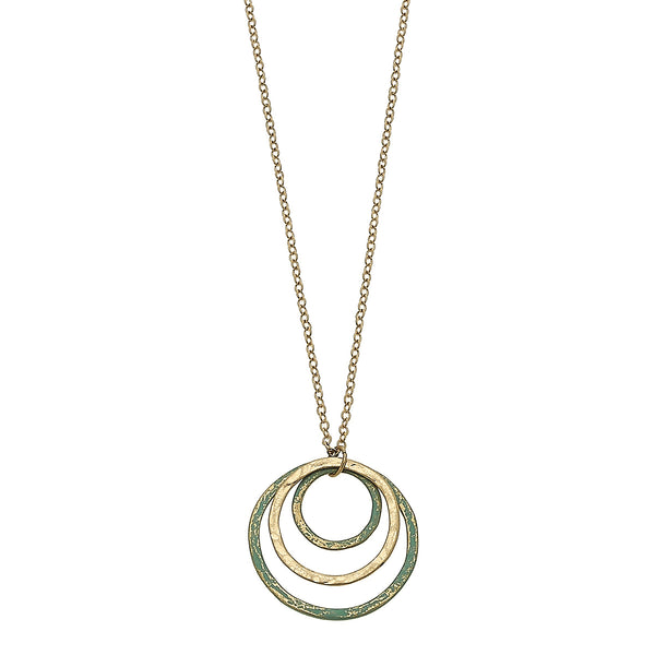 Patina Nested Circle Necklace in Worn Gold by Crave