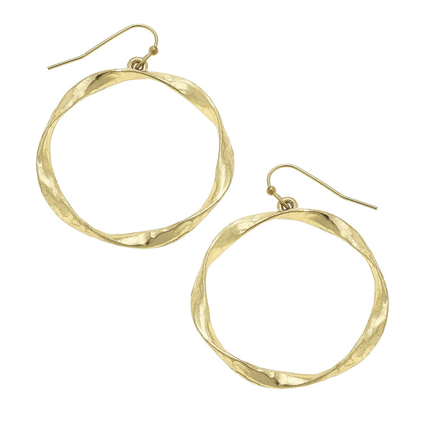 Twisted Metal Circle Drop Earring in Worn Gold by Crave