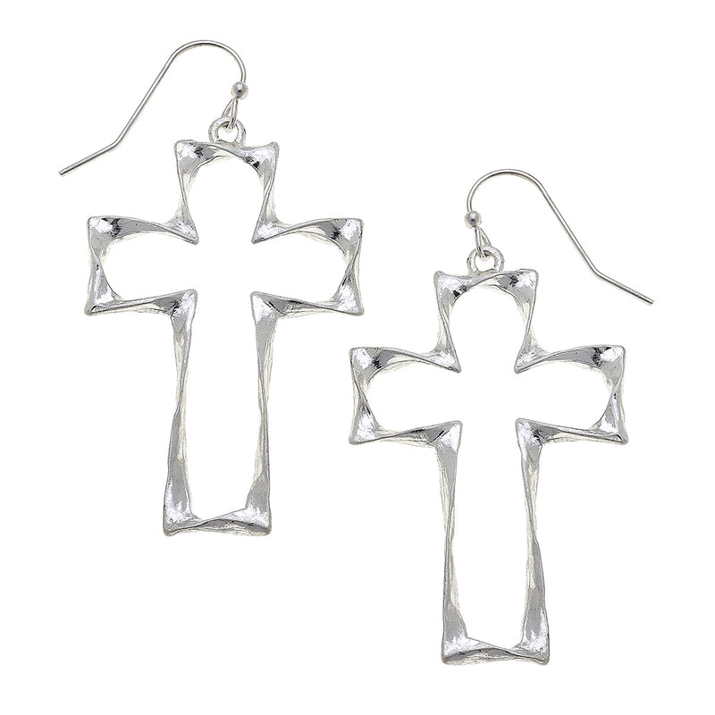 Twisted Metal Cross Drop Earring in Worn Silver by Crave