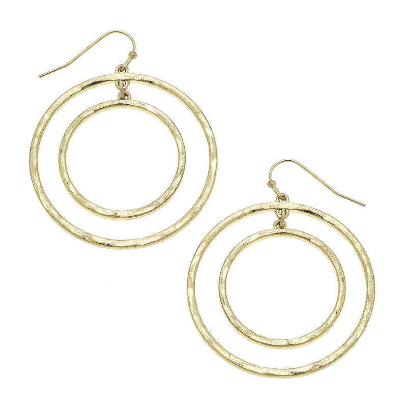 Nested Circles Drop Earring in Worn Gold by Crave