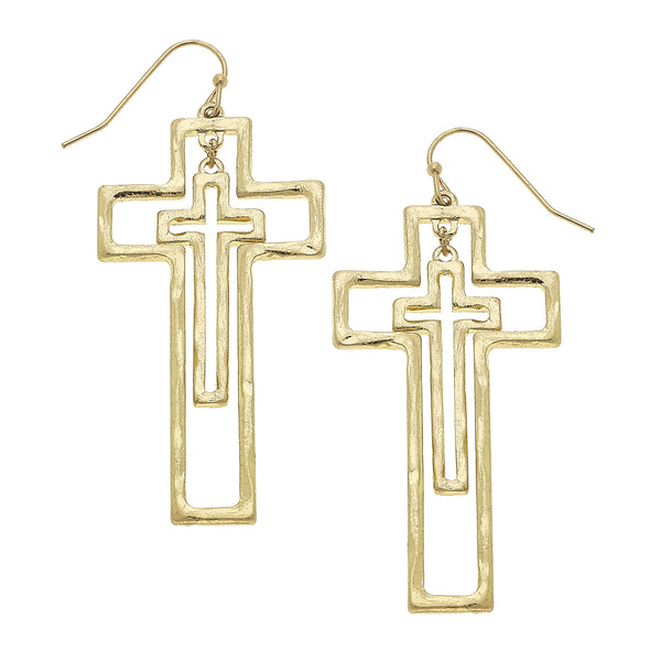 Nested Crosses Drop Earring in Worn Gold by Crave
