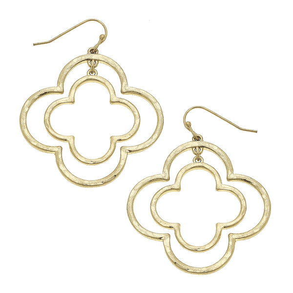 Nested Quatrefoil Drop Earring in Worn Gold by Crave