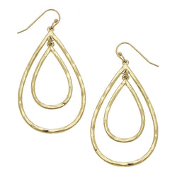 Nested Teardrop Drop Earring in Worn Gold by Crave