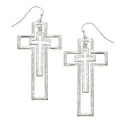 Nested Crosses Drop Earring in Worn Silver by Crave