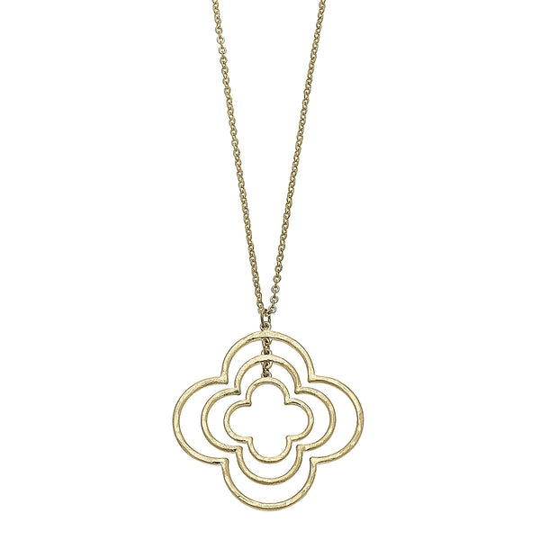 Triple Clover Pendant in Worn Gold by Crave