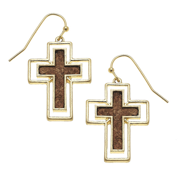 Cork Cross Earrings in Brown by Crave