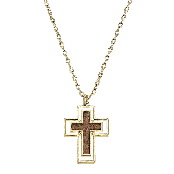 Cork Cross Necklace
