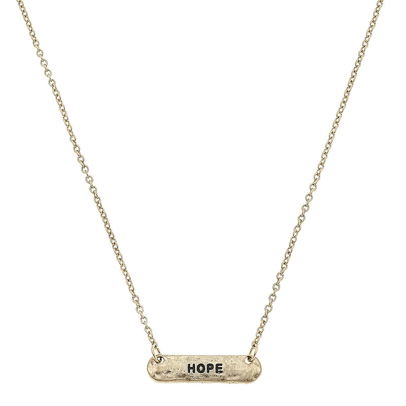 "Bar ""Love"" Necklace in Worn Gold by Crave"