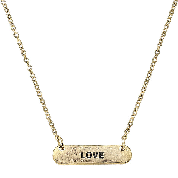 Reversible Cross Love Bar Necklace in Worn Gold by Crave