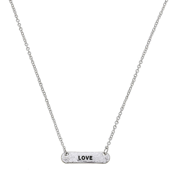 Love Bar Necklace in Worn Silver by Crave