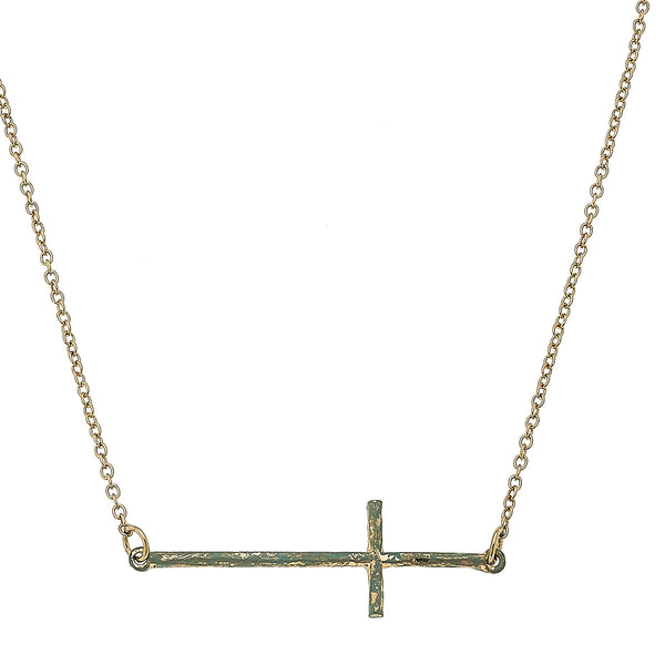 Patina Cross Necklace in Worn Gold by Crave