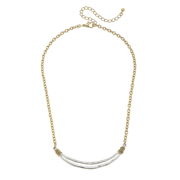 Wire Wrapped Open Curved Bar Necklace by Crave