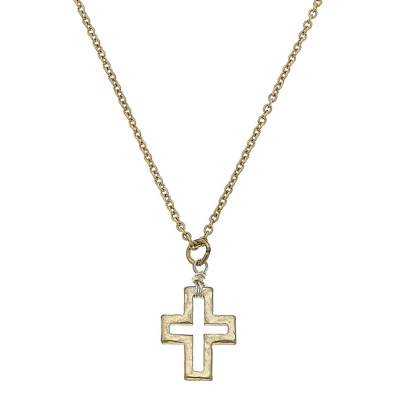 Wire Wrapped Cross Necklace in Worn Gold by Crave