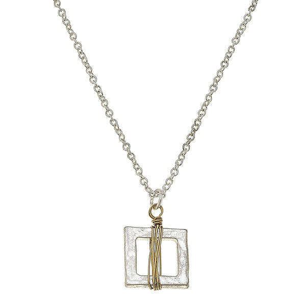 Wire Wrapped Mini Square Necklace in Worn Gold by Crave