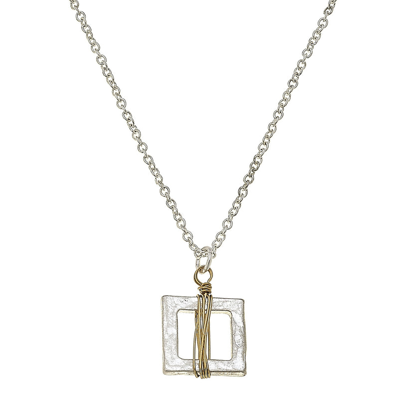 18866N-SQ Mini Wire Wrapped Worn Gold Square Necklace by Crave