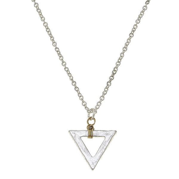Wire Wrapped Mini Triangle Necklace in Worn Silver by Crave