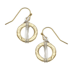Wire Wrapped Circle Earrings in Worn Gold by Crave