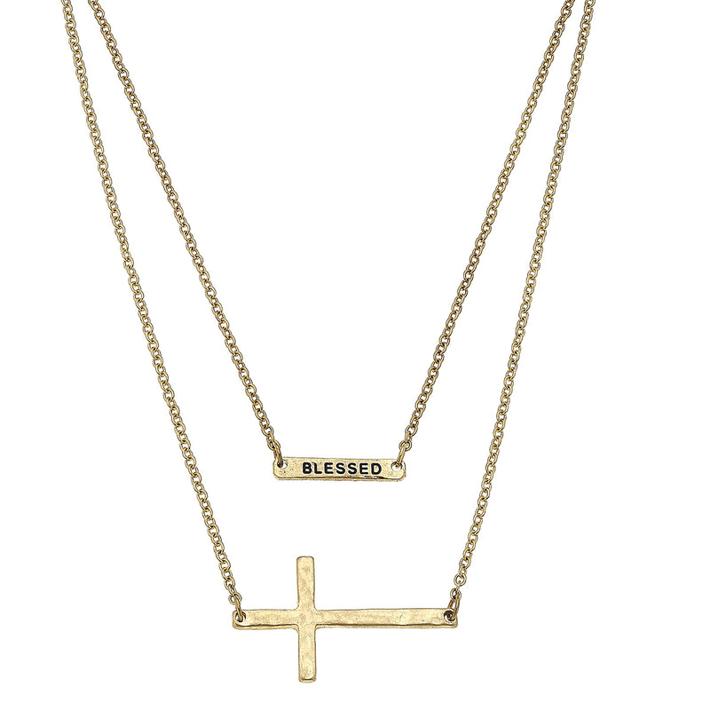 Layered Cross Blessed Necklace in Worn Gold