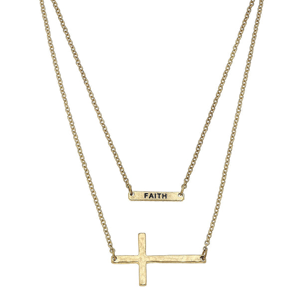 Faith Cross Bar Layered Necklace in Worn Gold by Crave