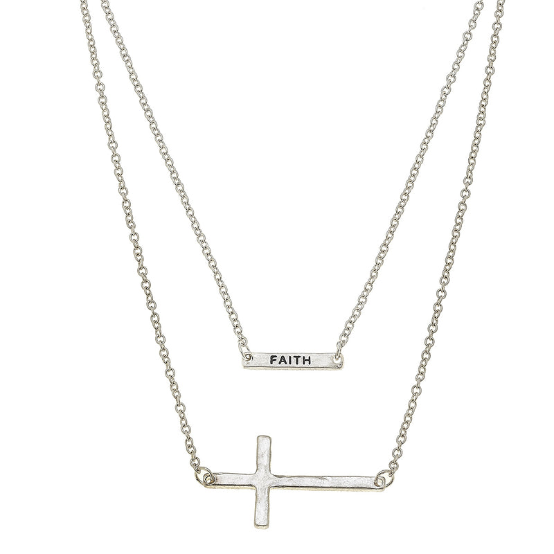 Layered Cross Faith Necklace in Worn Silver