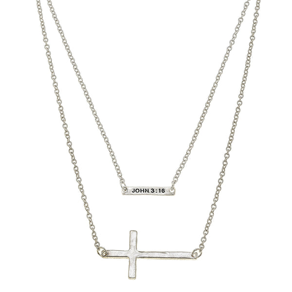 Layered Cross John 3:16 Necklace in Worn Silver