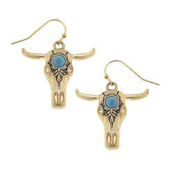 Western Turquoise Cow Skull Earrings in Worn Gold by Crave