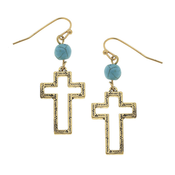Western Open Cross Turquoise Drop Earrings in Worn Gold by Crave