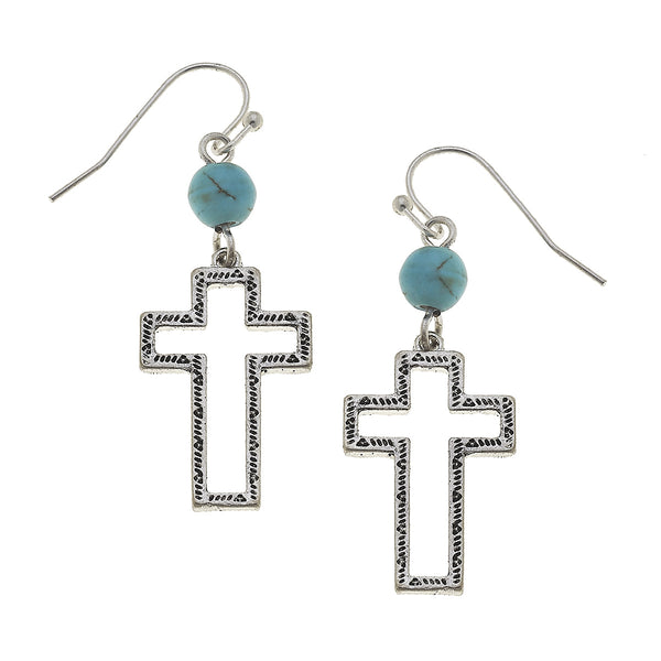 Western Open Cross Turquoise Drop Earrings in Worn Silver by Crave