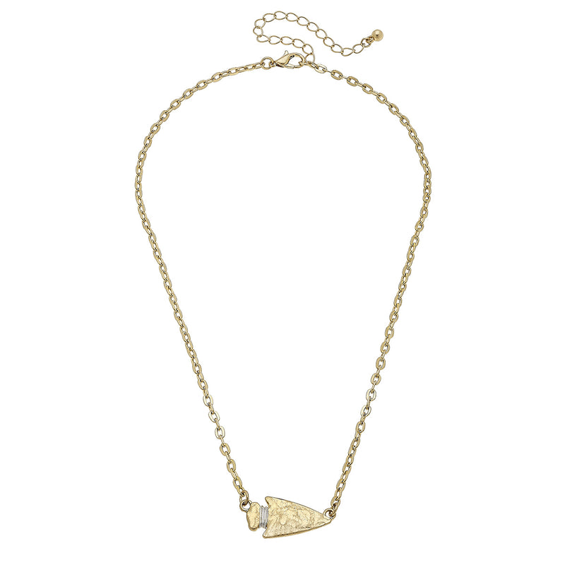 Western Arrow Head Necklace in Worn Gold by Crave