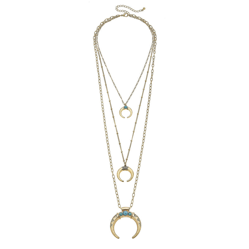 Western Three Layer Horns Necklace in Worn Gold by Crave