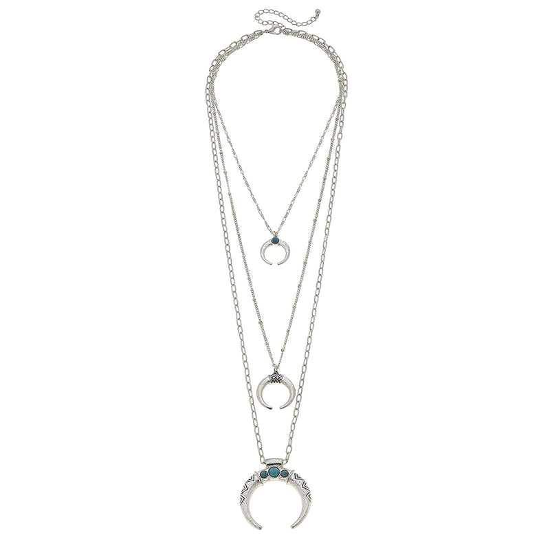 Western Three Layer Horns Necklace in Worn Silver by Crave