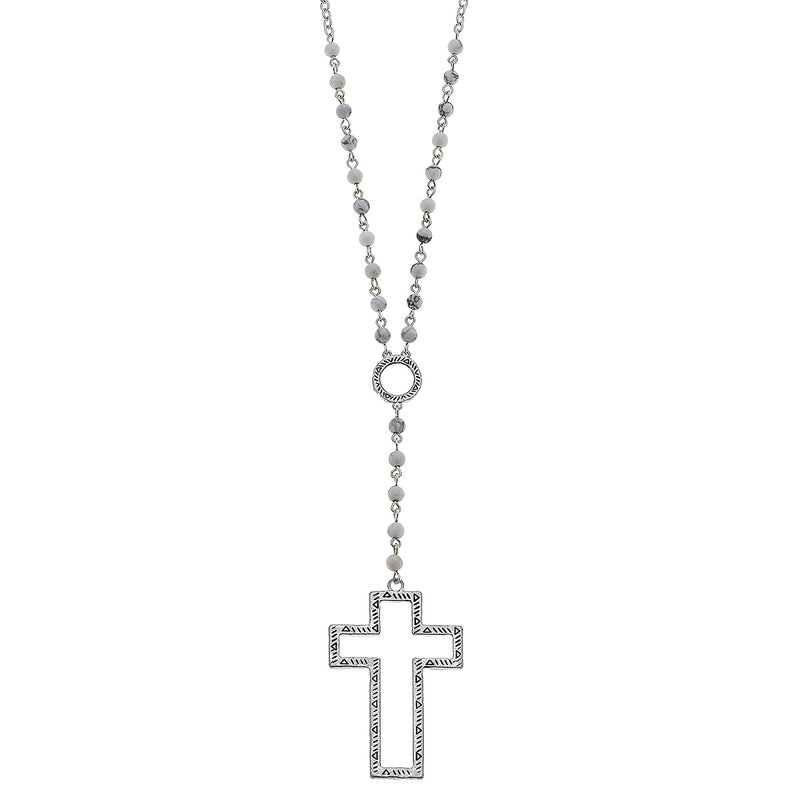 Western Cross Howlite Rosary Y Necklace by Crave