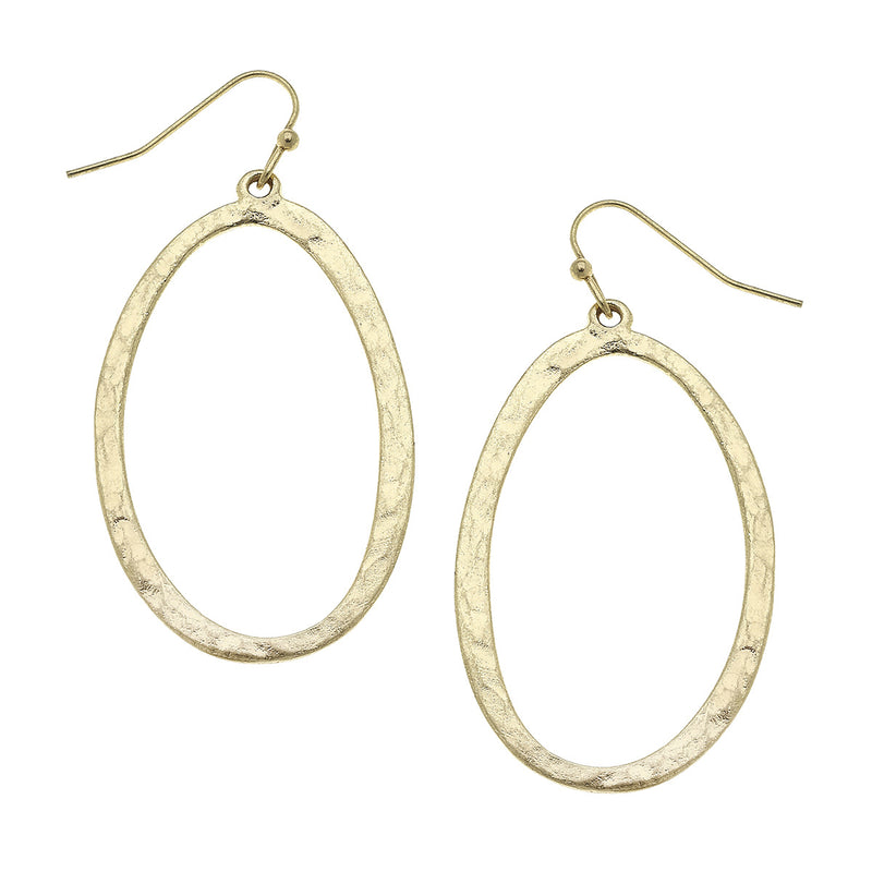 Hammered Oval Hoop Earring in Worn Gold by Crave