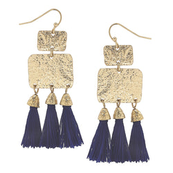 Blue Textured Triple Tassel Drop Earrings in Worn Gold by Crave