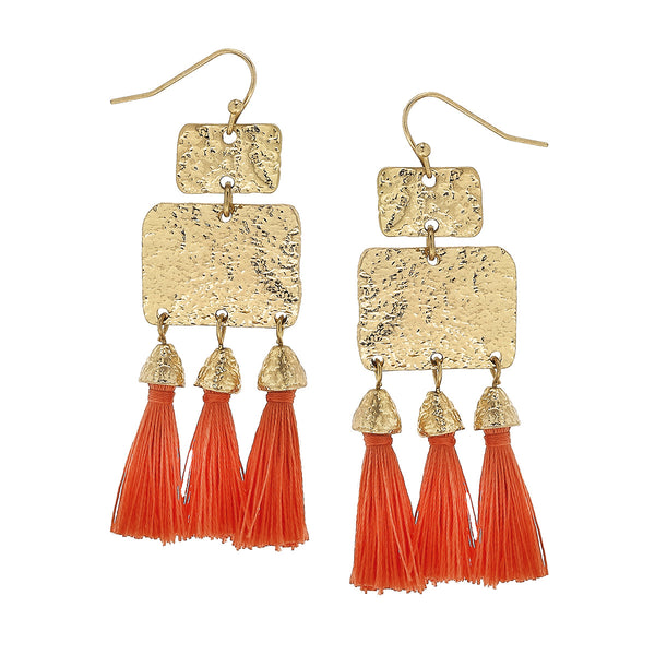 Coral Textured Triple Tassel Drop Earrings in Worn Gold by Crave