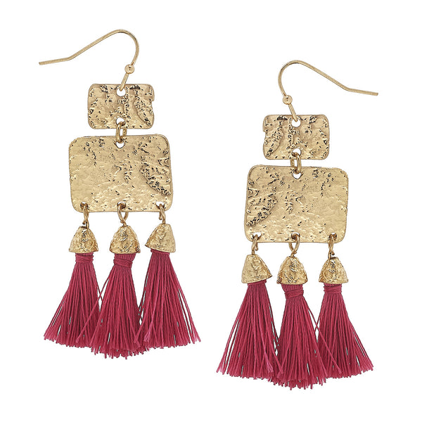 Fuschia Textured Triple Tassel Drop Earrings in Worn Gold by Crave