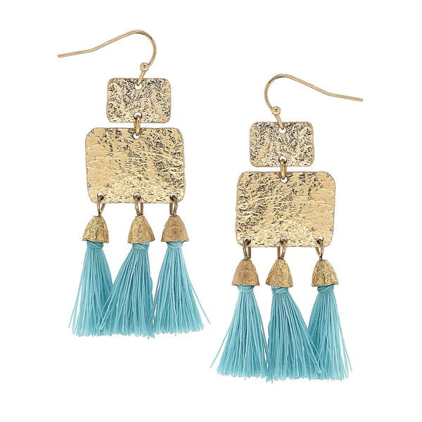 Turquoise Textured Triple Tassel Drop Earrings in Worn Gold by Crave