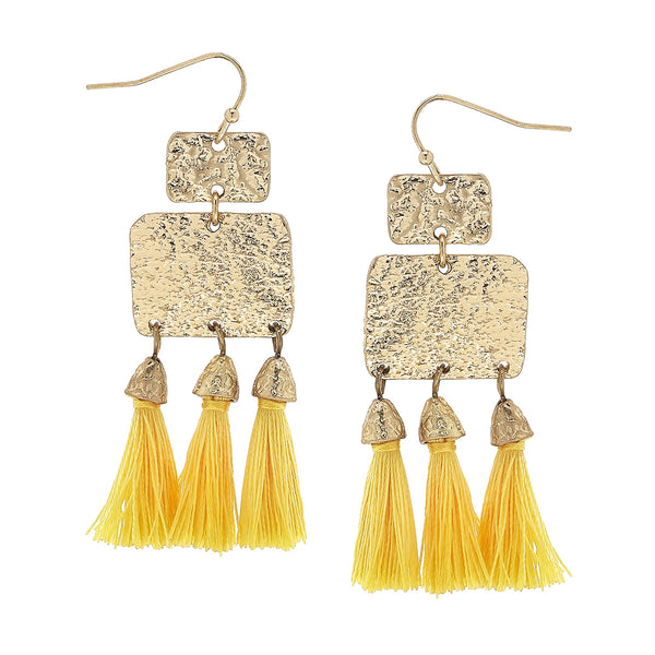 Yellow Textured Triple Tassel Drop Earrings in Worn Gold by Crave