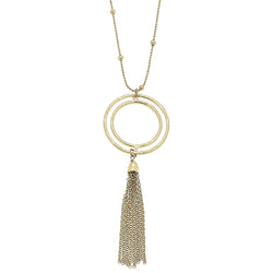 Open Work Circle Tassel Pendant in Worn Gold by Crave