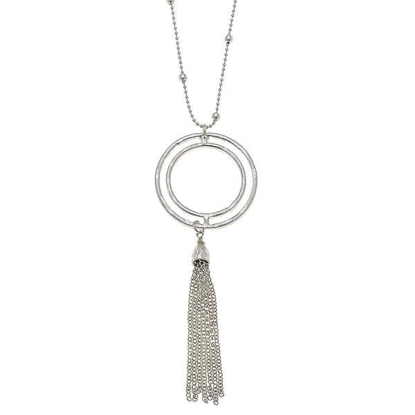 Open Work Circle Tassel Pendant in Worn Silver by Crave