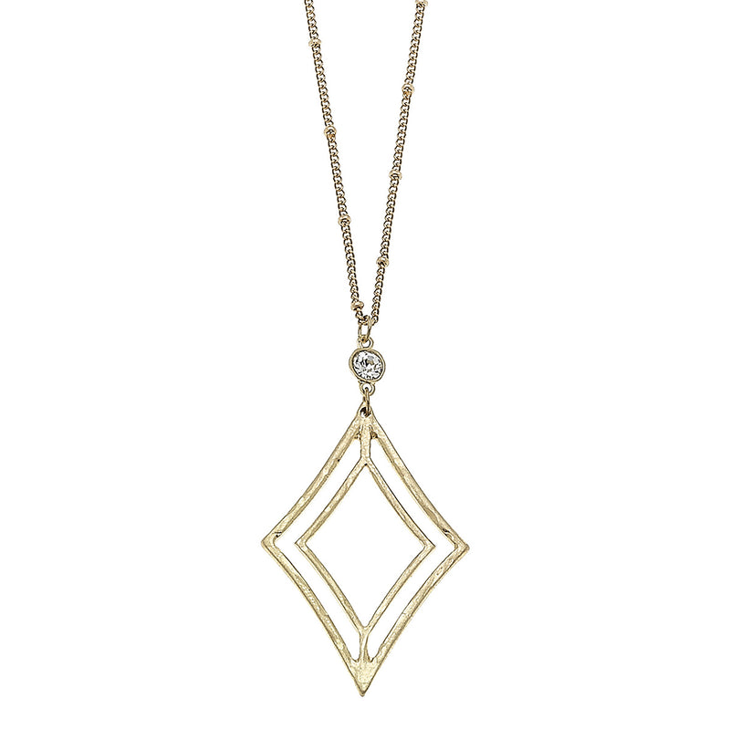 Open Work Diamond Pendant in Worn Gold by Crave