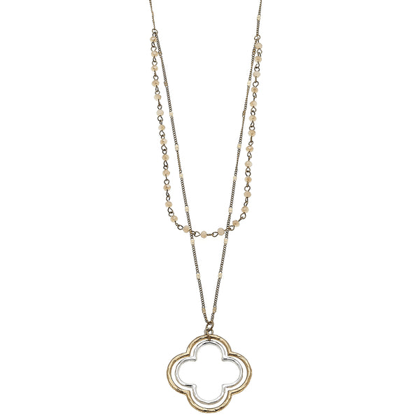 Champagne Glass Quatrefoil Pendant in Worn Gold by Crave