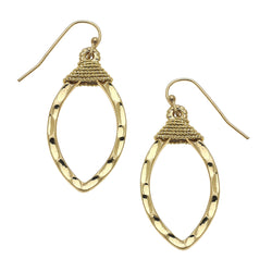 Small Wire Wrapped Marquis Earring in Worn Gold by Crave